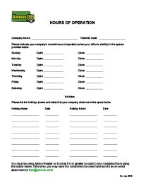 Hours of Operation Form